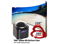 Somikon 360°-4K-Action-Cam, 16-MP-Sony-Sensor, 24 B./Sek., Fernbedienung, IP68