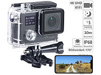 Somikon 4K-Action-Cam für UHD-Videos, 2 Displays, WLAN, 16MP-Sony-Sensor IP68