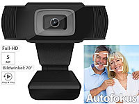 Somikon Full-HD-USB-Webcam mit 5 MP, Autofokus und Dual-Stereo-Mikrofon