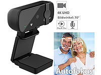 Somikon Real 4k USB Webcam mit Privacy Mode (Linsenabdeckung) & USB-C Adapter