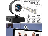 Somikon Full-HD-USB-Webcam mit LED-Ringlicht, Autofokus, Dual-Mikrofon, 30 fps
