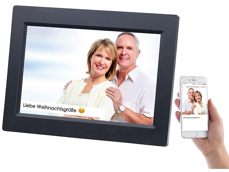 Somikon WLAN-Bilderrahmen mit 25,7-cm-IPS-Touchscreen & weltweitem ...