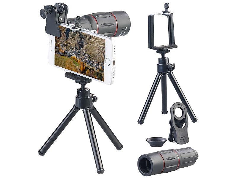 Somikon vorsatz tele objektiv mit smartphone stativ fache